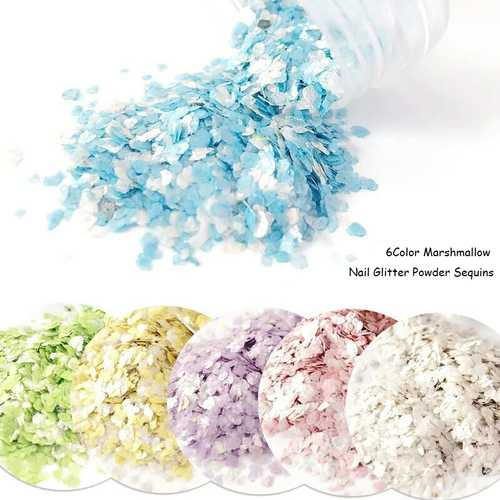 Candy Nail Decoration Sequins Powder Cute Dreamlike Manicure UV Gel Pink Yellow Blue 6 Colors
