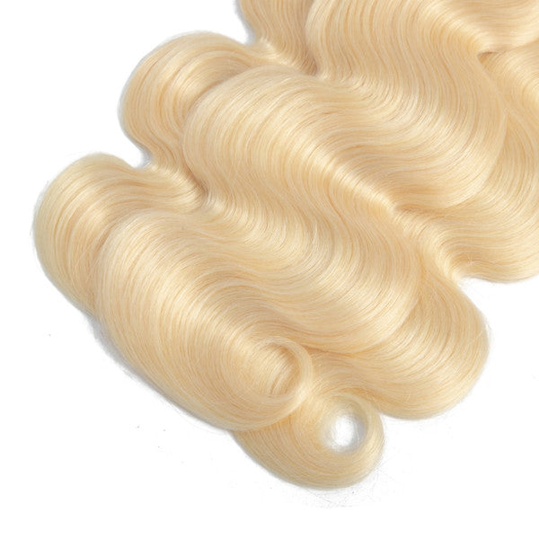 Malaysian 613# Blonde Body Wave Bundles With Lace Closure 4X4
