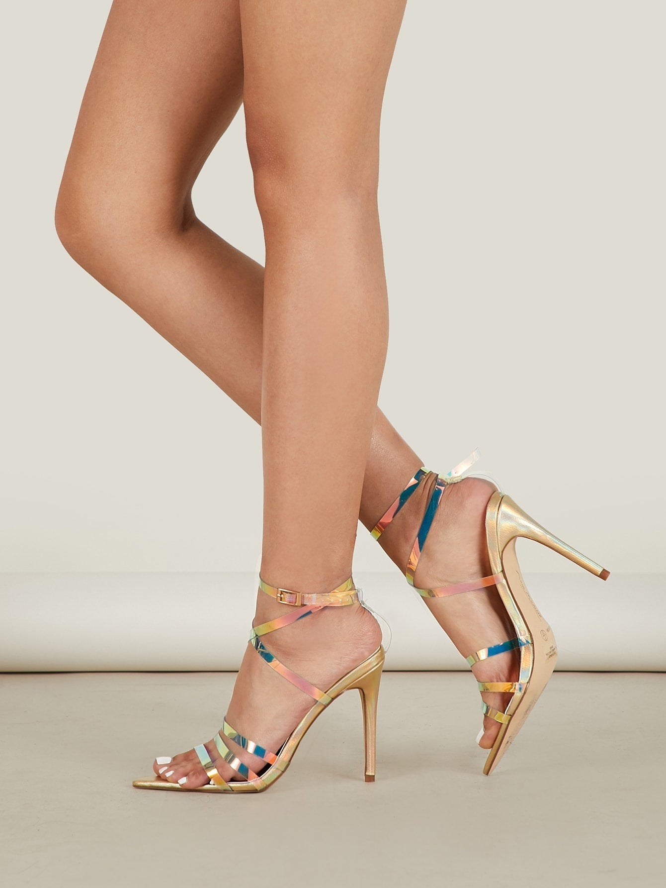 Iridescent Clear Strappy Metallic Heeled Sandals