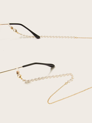 Faux Pearl Beaded Metal Glasses Chain