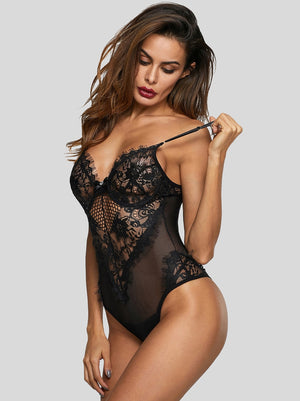 Contrast Lace Sheer Teddy Bodysuit