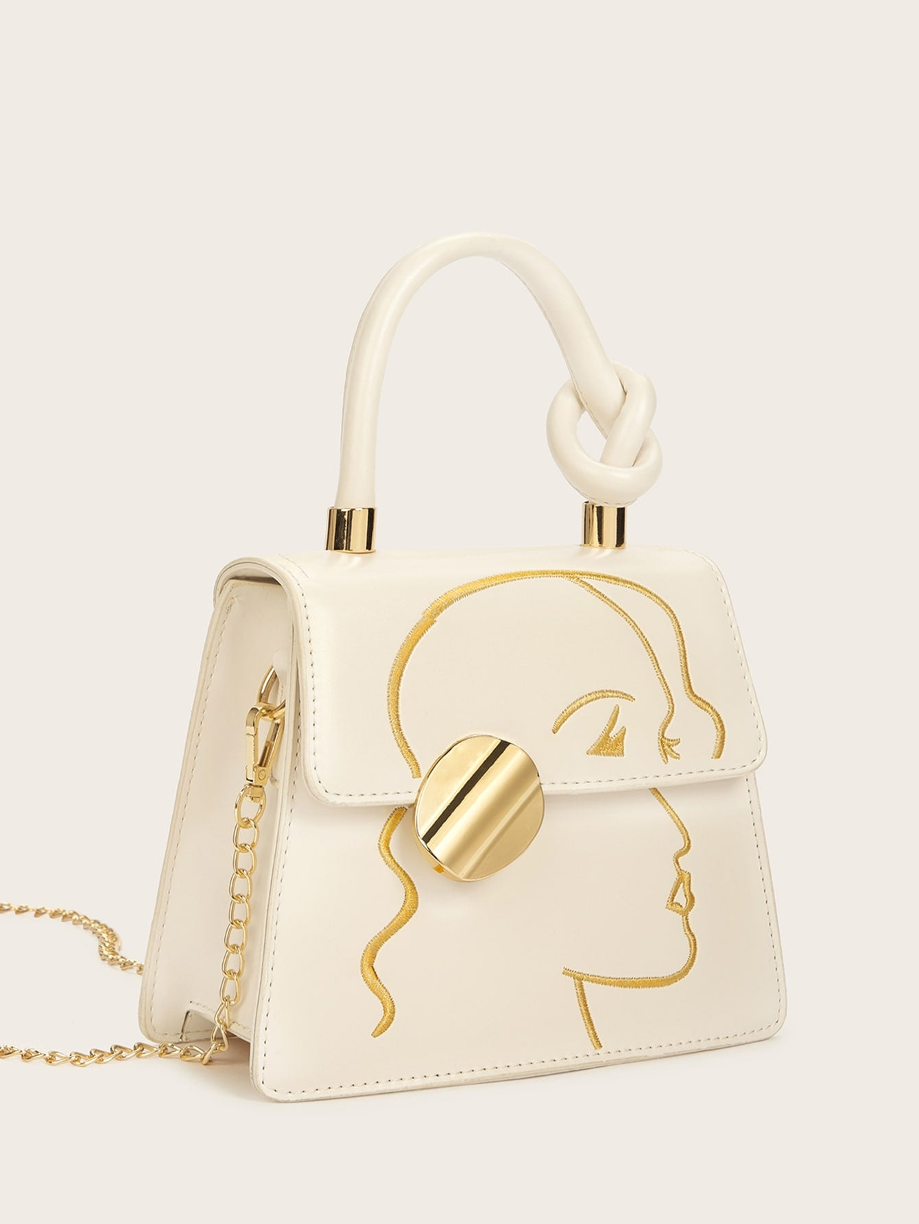Knot Detail Face Embroidery Satchel Bag
