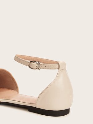 Point Toe Ankle Strap Flats