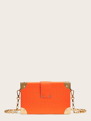 """Push IT""  Lock Croc Embossed Crossbody Bag"