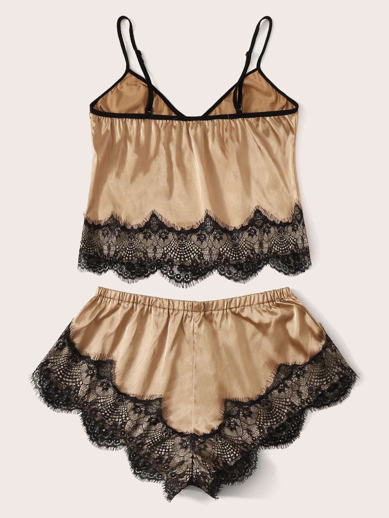 Floral Lace Cami With Satin Shorts