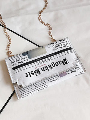 Letter Print Flap Chain Bag