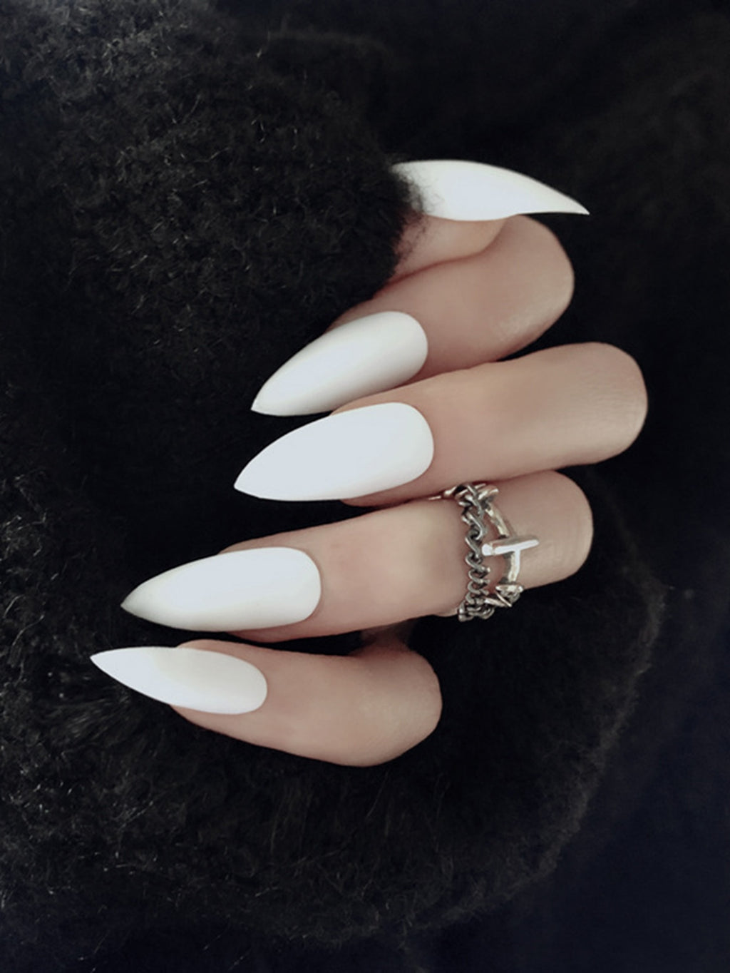 Stiletto MILKY WHITE Press On Set Nail 24pcs With Tape