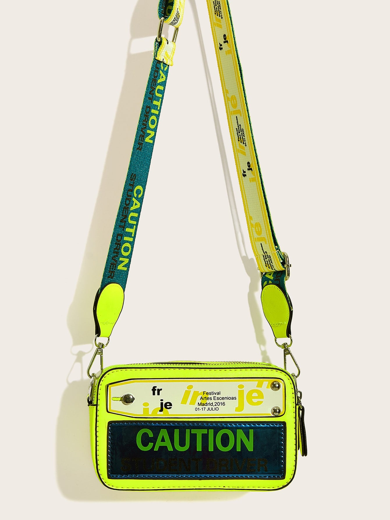 CAUTION Neon Lime Letter Print Crossbody Bag