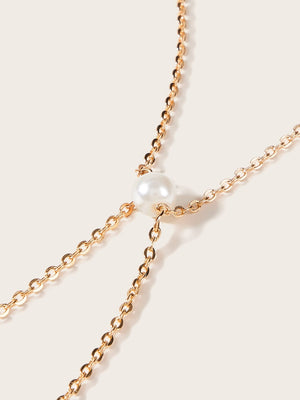 Faux Pearl Decor Body Chain 1pc