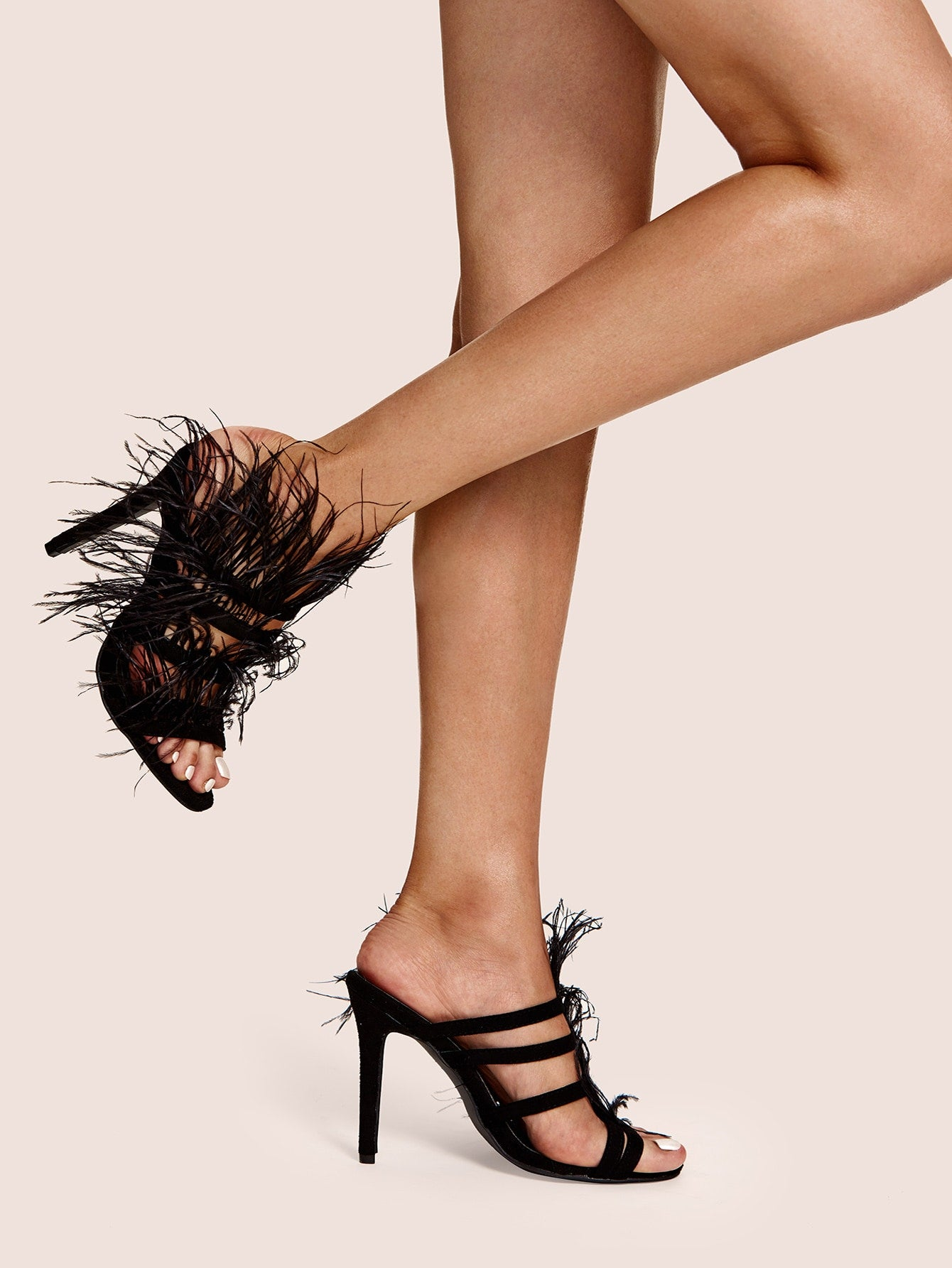"""Decor"" Feathered Stiletto Heeled Mules"