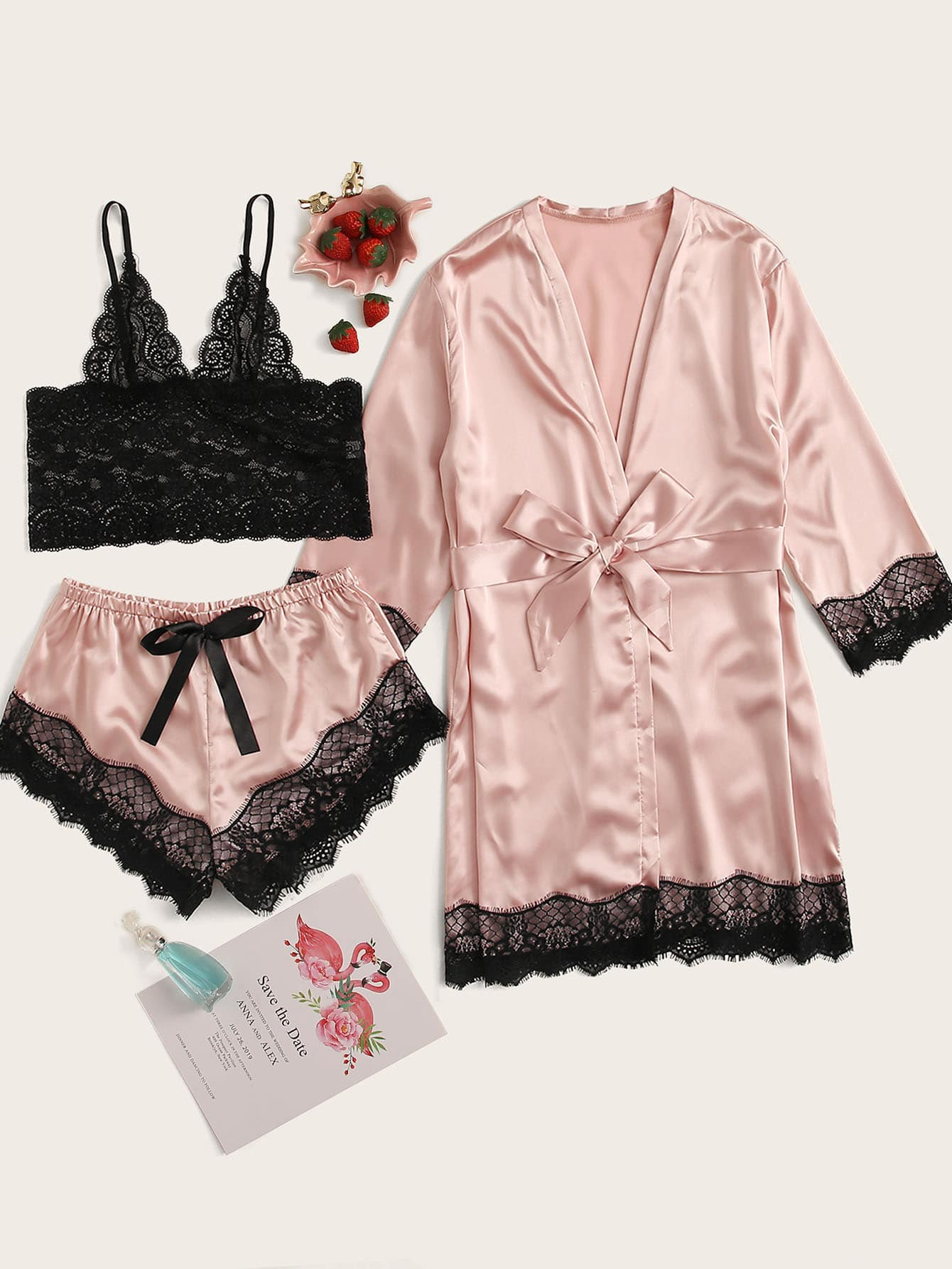 Floral Lace Satin Lingerie Set With Robe
