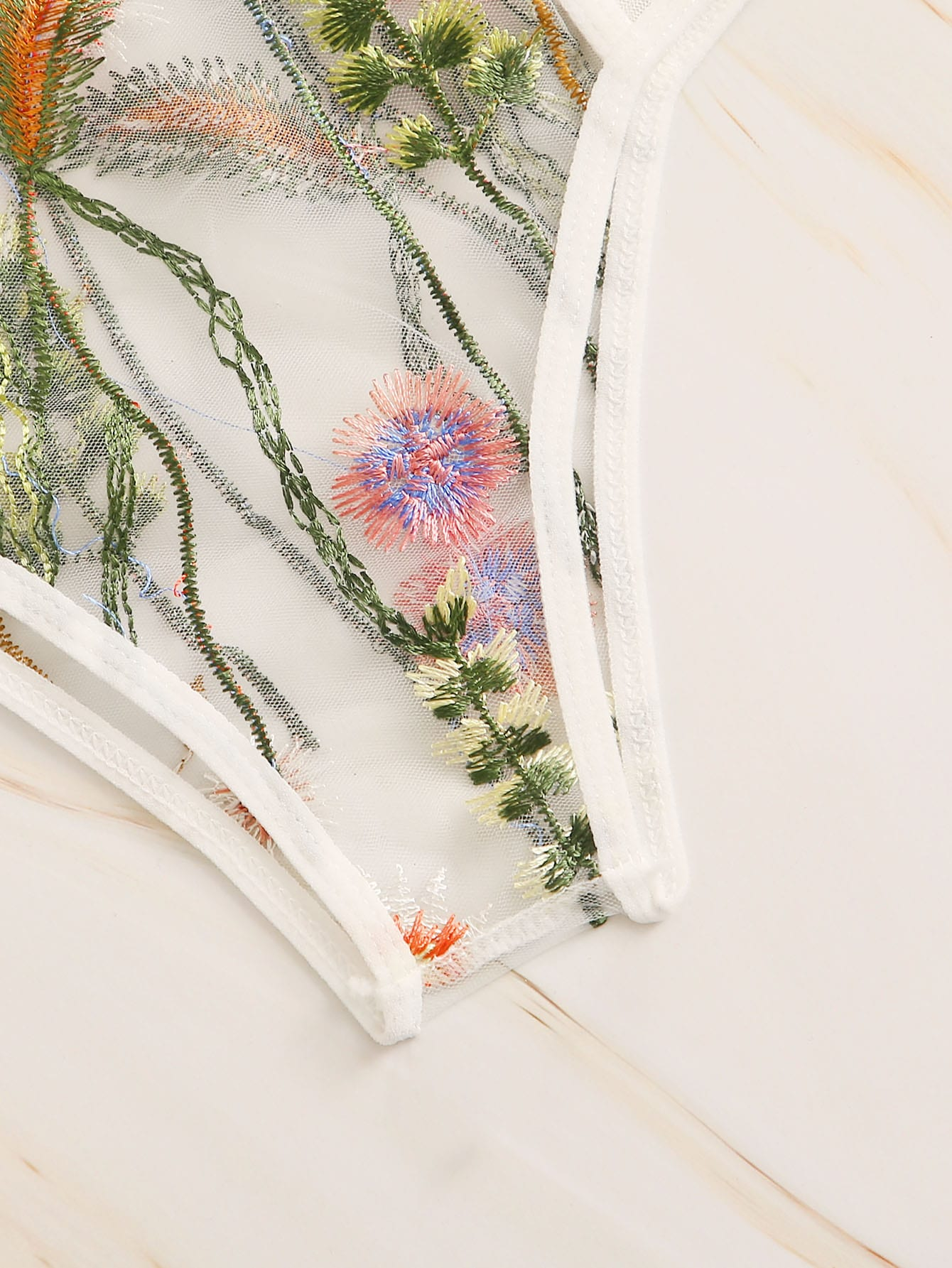 Floral Embroidered Sheer Lingerie Set