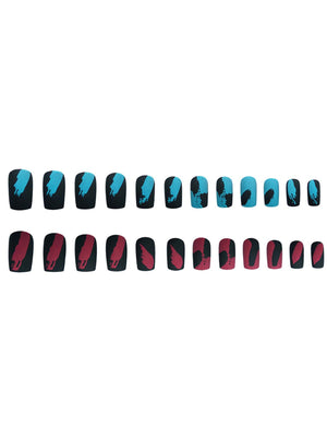 24pcs Tie Dye PRESS ON Nails & Double-sided Tape