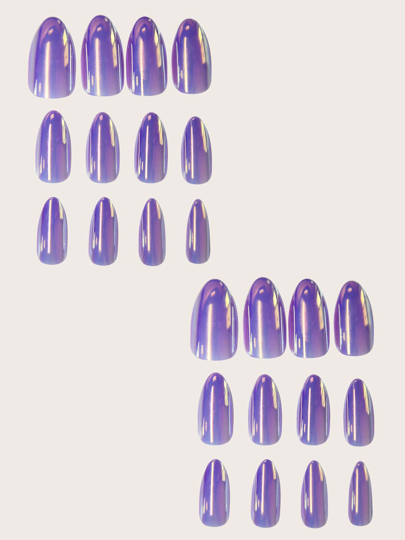 Holographic Nails Purple Press Ons