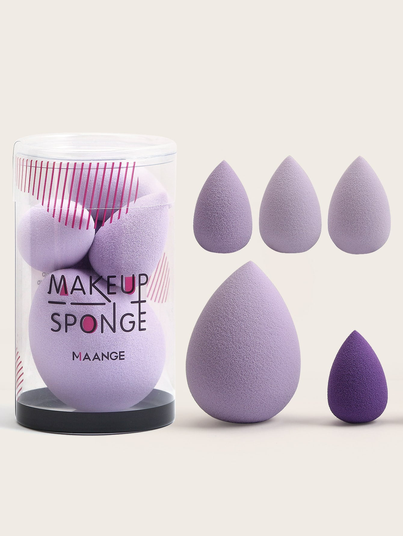 5pcs Solid Teardrop Makeup Sponge