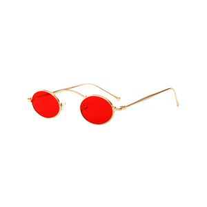 """Copywriting"" Red Tinted Slim Shaped Sunglasses"