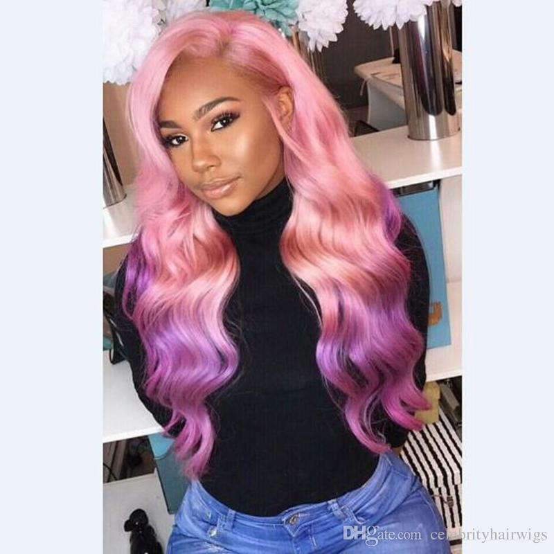 SYNTHETIC PINKY/ PURPLE OMBRELACE FRONT WIG