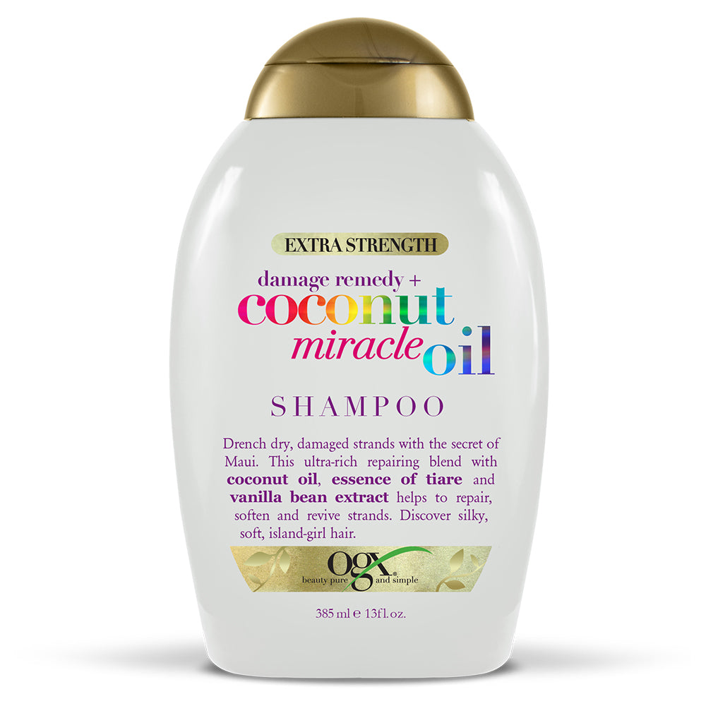 OGX Extra Strength Damage Remedy + Coconut Miracle Oil Shampoo, 13 FL OZ