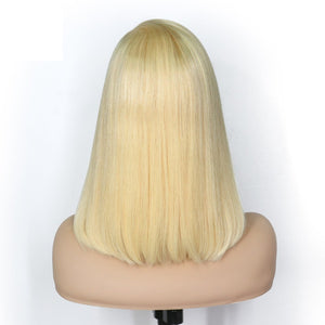 613 Blonde Bob Straight Brazilian Hair Lace Front Wig CAN BE DYED ANY COLOR!!