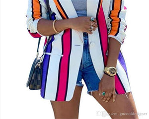 Striped Printed Blazer Lapel Neck