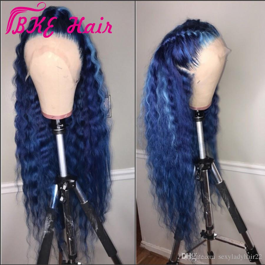 SYNTHETIC MIDNIGHT BLUE LACE FRONT WIG  - PRE-PLUCKED