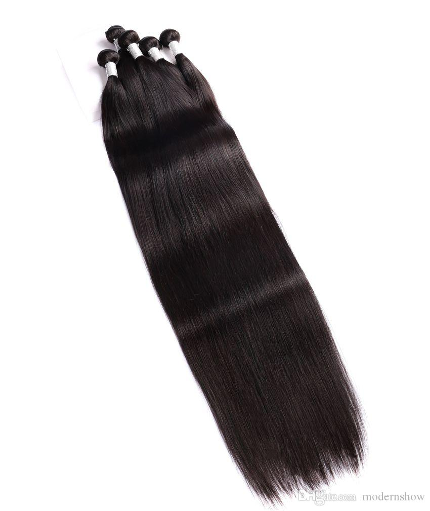 Virgin Peruvian Cuticle Aligned 40'' Straight Wave Human Weaves 32 34 36 38 40 inch Straight Hair Bundles