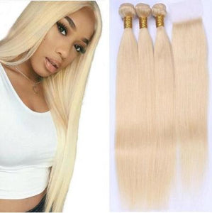 #613 Blonde Human Hair Bundles With Lace Closure Brazilian Virgin Hair 9A Blonde Straight Hair Bundles With Closure 4x4