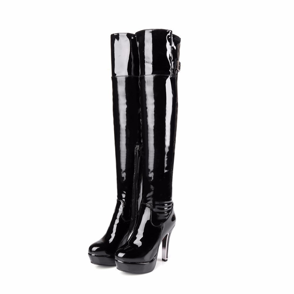 Women Boots Patent Leather Over The Knee Boots for Women Black Red Sexy High Heels Long Boots Pole Dancing Boots