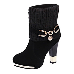 New Fashion Women Short Red Boots Cotton Black Combat Boots Lady Wedding Party Boots High Heels Platform Boots