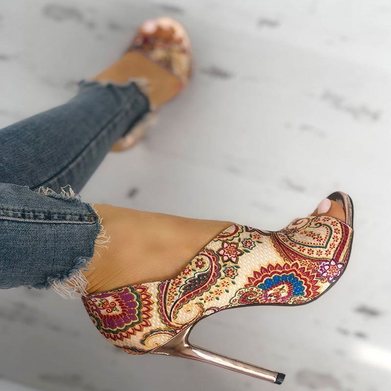 Summer Sexy Women High-heeled Shoes Open Toe Ethnic Style Print Party Sandals