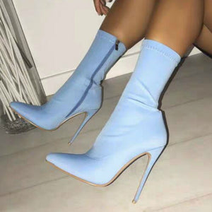 New Women Boots Fashion Winter Boot High Heel Pointed Toe Elastic Sock Boots Short Boot Party Shoes