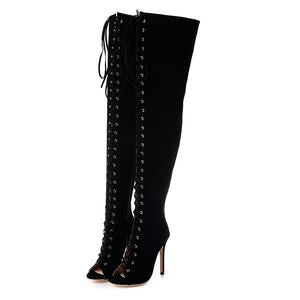 Sexy Women Black High Heels Gladiator Shoes Peep Toe Lace Up Thigh Over Knee High Boots Cut Over Knee Sandal