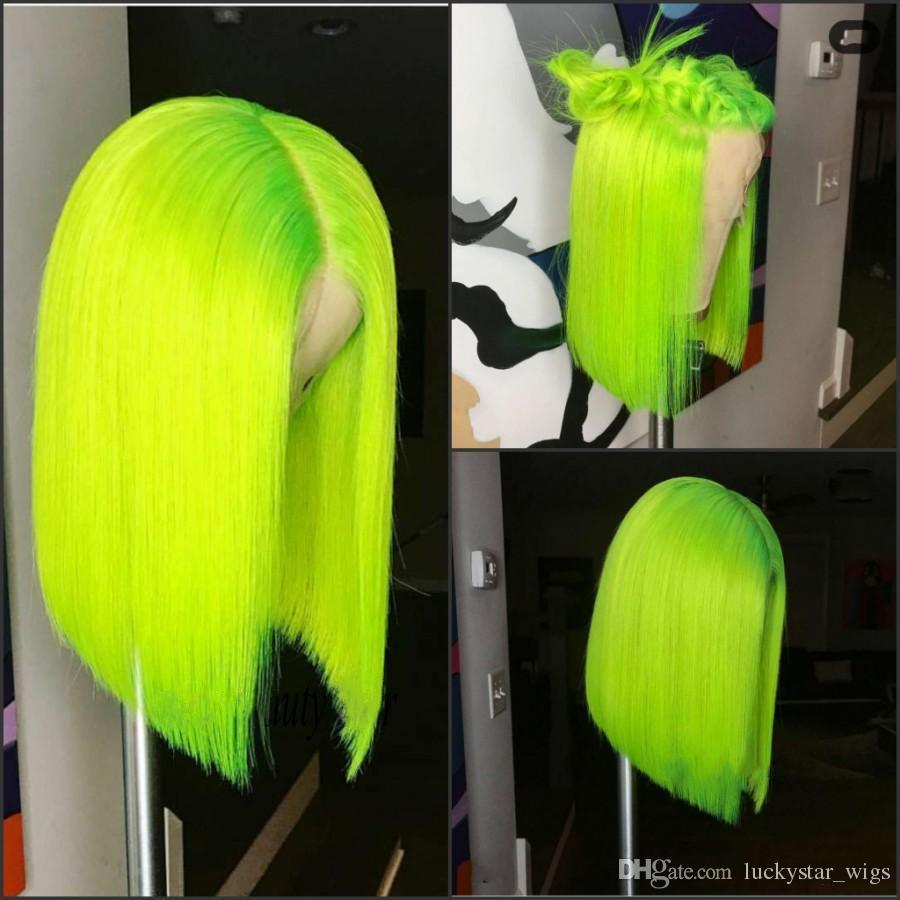 NEON GREEN SWISS LACE FRONT WIG - BOB