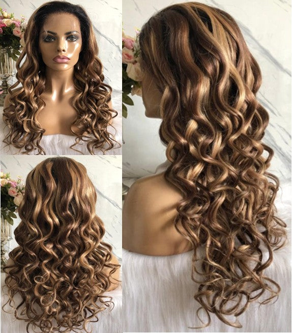 """MALIKA"" 10A Ombre Highlight 30/27 Lace Front or 360 Lace Wig"