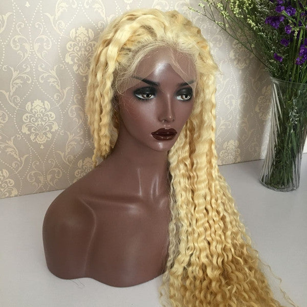 CRIMPED OUT DEEP WAVE LACE FRONTAL WIG VIRGIN BRAZILIAN HAIR 9A