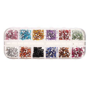 2mm Acrylic Rhinestone 12 Grid Case Nail Art Tips Decoration