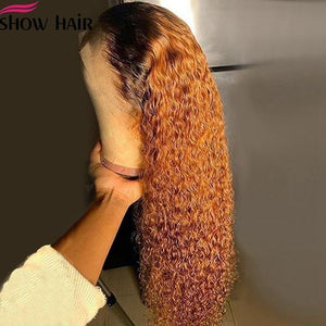 Orange Ginger Curly 99J OR 1B/30 OMBRE 13X4 Human Hair Lace Front Wigs