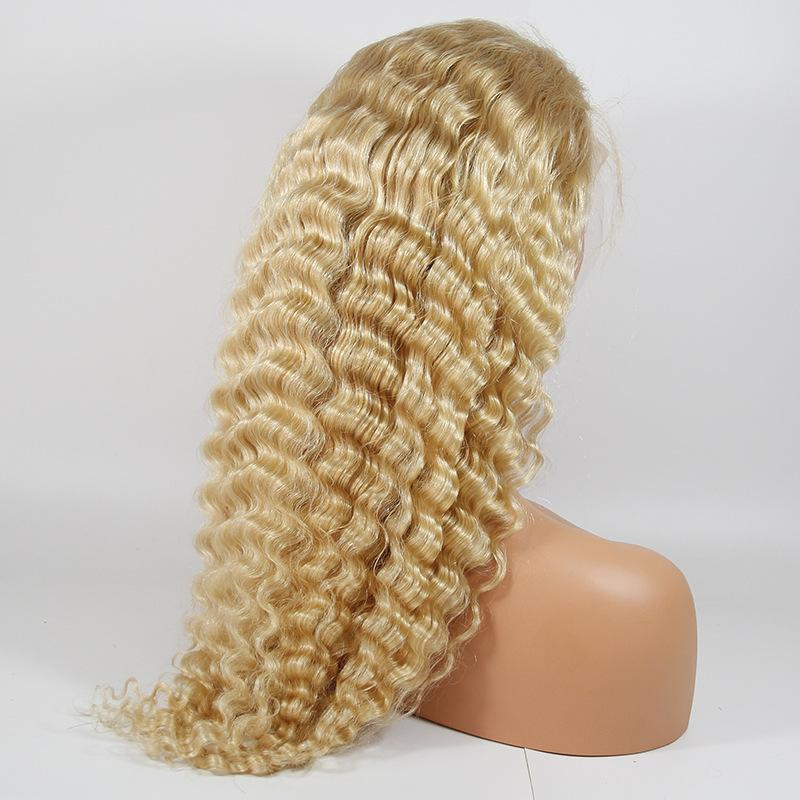 """Leslie"" 613 Deep Curly BRAZILIAN 100% VIRGIN 8A Blonde Wig"
