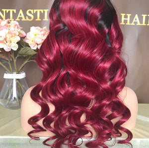 "NEW! ""LOVE LOST"" RED OMBRE LACE FRONTAL BRAZILIAN BODY WAVE CUSTOMIZED WIG"
