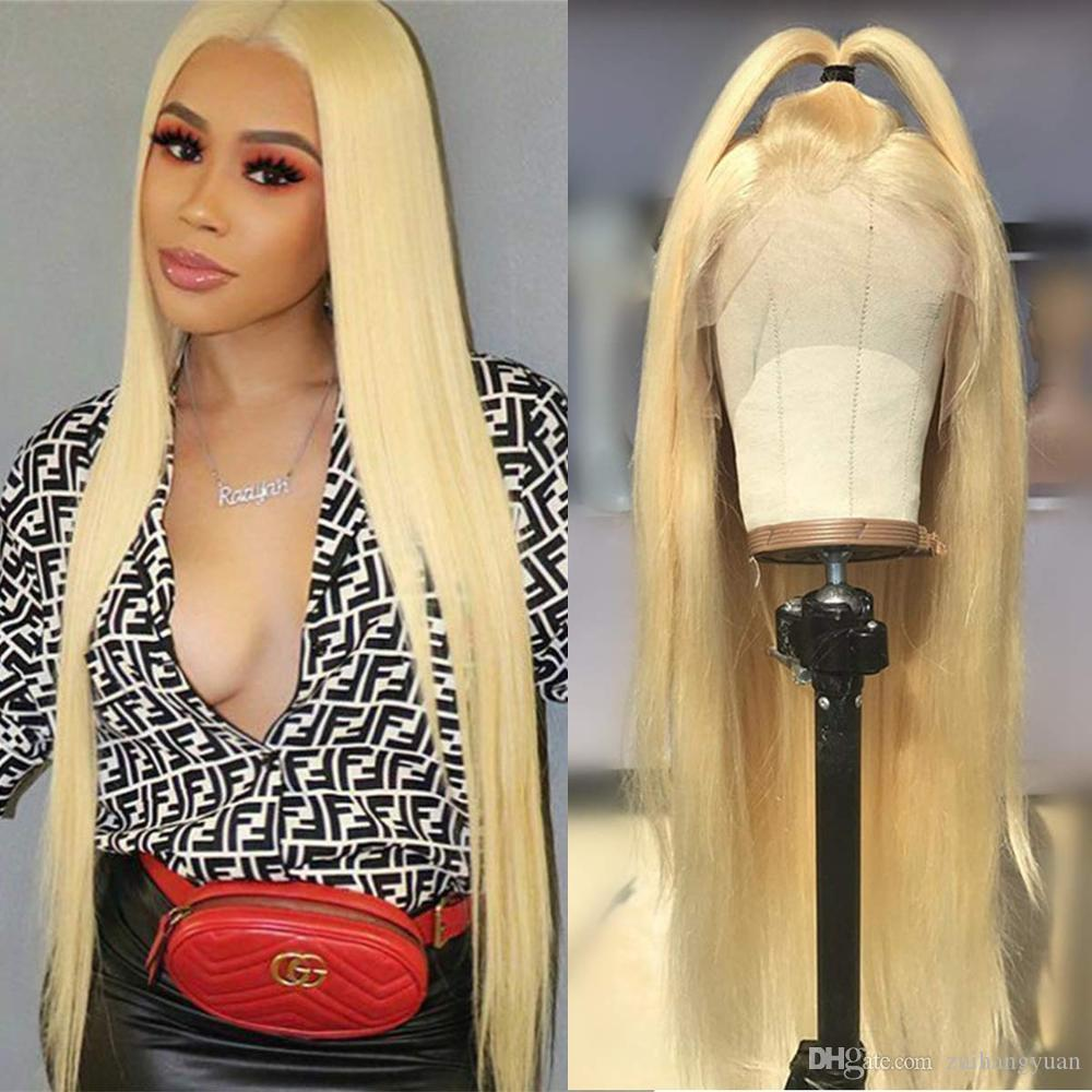 613 Blonde Straight Full Lace Wigs Glueless Brazilian Remy Human Hair Full Lace Wigs Pre-plucked With Baby Hair 150% Density