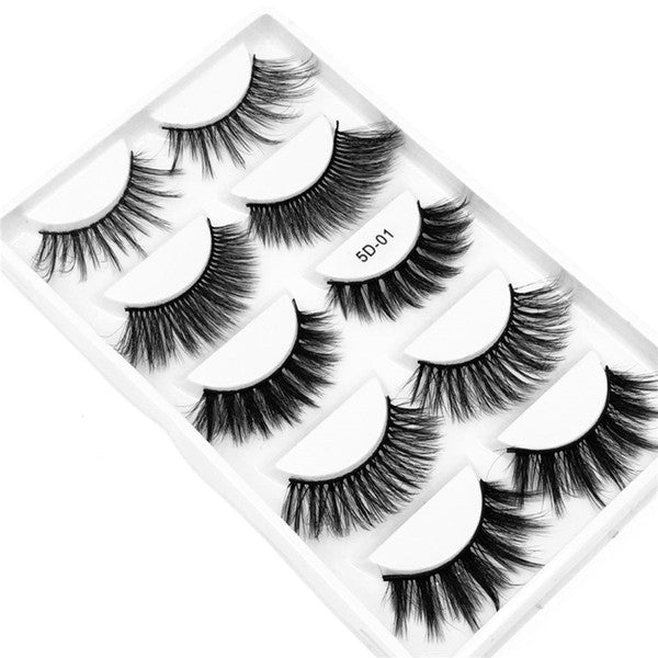 Hot selling best price 5 Pair Natural Thick synthetic Eye Lashes Makeup Handmade Fake Cross False Eyelashes with Holographic Box