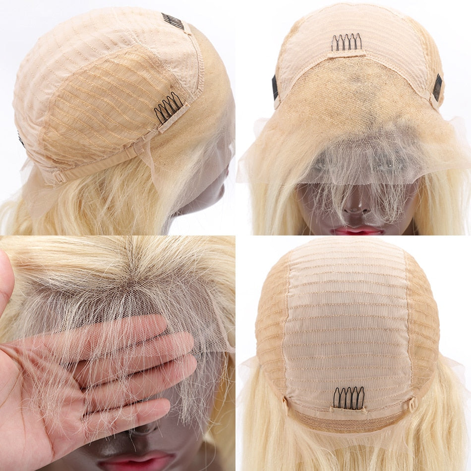 """CRIMPED"" Transparent Lace Frontal Wig 613 Blonde Crimped Brazilian"