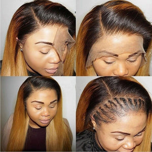 1B/27 Ombre Color Lace Front Wig With Baby Hair 13*4 Straight Brazilian