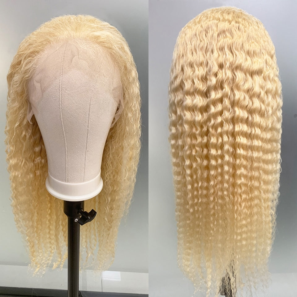 13x6 Deep Wave Wig 613 Blonde Lace Front Human Hair Wig HD Transparent Lace Wig