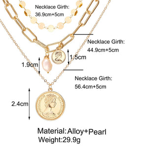 17KM Vintage Gold Portrait Coin Pearl Pendant Necklaces
