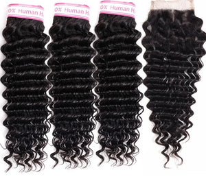 """CRIMPED"" 613 Brazilian Deep Wave Bundles With Closure"