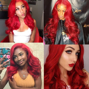 Remyblue Body Wave Wig 13*4 Red Burgundy Lace Front Human Hair Wigs For Women Colored Peruvian Remy Lace Front Human Hair Wigs