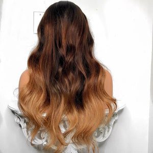 """Mya"" Silky Ombre Black to Brown Roots with 27 Highlighted Ends"