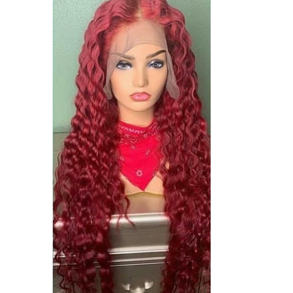 """Meg"" RED BOMBSHELL & HIGHLIGHTED JET BLACK TRANSPARENT LACE FRONT WIGS"