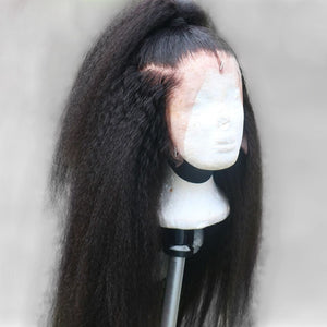 Kinky Straight Lace Wig Brazilian 13x4 Lace Front Human Hair Wigs For Black Women Italian Yaki Human Hair Wigs Pre Plucked Hair